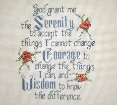 serenity prayers Cross Stitch Pattern | COMPLETED CROSS STITCH, SERENITY PRAYER
