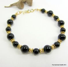Fancy Black Obsidian Bracelet with Hook and Eye Clasp #thegemmedgiraffe