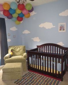 Disney cast members and UP fans created this fun nursery using the Simply Clouds Wall Stencil Kit from @mywonderfulwalls and a lot of imagination. These self-adhesive stencils make it easy to paint clouds into any mural on your walls, ceilings and more and @mywonderfulwalls offers a variety of styles. Read more about this UP Themed Nursery on their blog at http://www.mywonderfulwalls.com/blogs/my-wonderful-walls/16683776-sky-is-the-limit-with-cloud-wall-stencils-for-up-themed-nursery.