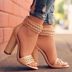 Solid Black Beige Summer Women Open Toe Shoes Fashion Ankle Strap Criss-cross Leather High Heels Thick Heel Sandals from Eoooh❣❣ Solid Black Beige Sommer Frauen Open Toe Schuhe Mode Knöchelriemen Criss-Cross Leder High Heels Thick Heel Sandalen Leather High Heels, Black High Heels, Dream Shoes, Crazy Shoes, Cute Shoes, Me Too Shoes, Shoe Boots, Shoes Heels, Heeled Sandals