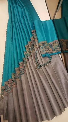 A teal and grey cutwork saree. Cutwork Saree, Tussar Silk Saree, Chiffon Saree, Saree Dress, Organza Saree, Cotton Saree, Simple Sarees, Trendy Sarees, Stylish Sarees