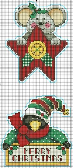 Mouse and penguin holiday hangings