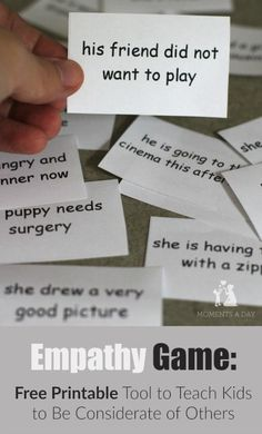 Free printable empathy game to help kids develop empathy for others. This is a great resource if you teach students with ANY type of special learning needs. Read more and get this FREE resource at: http://www.momentsaday.com/empathy-game/