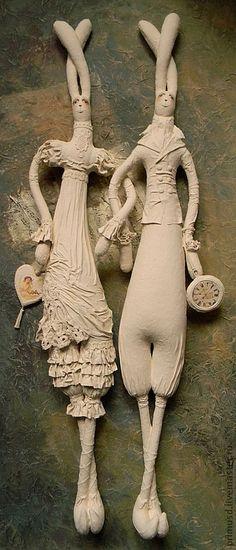 Купить Пара Зайцевых - ретро-стиль, с любовью, свадьба, подарки ручной работы, свадебный подарок