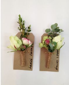 Manly, hessian wrapped buttonholes
