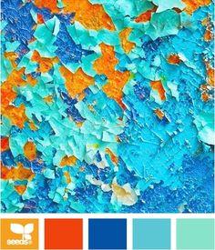 Color: Peeling Brights by Design Seeds - orange, dark orange, deep blue, robin's egg blue, turquoise..