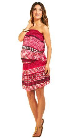 Robe grossesse bustier. Tissu imprimé africain. On l'adore pour se balader cet été..