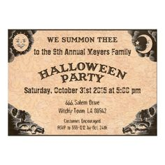 Ouija invitation for your Halloween party. Conjuring up some fun this Halloween? Have a seance! This Halloween invitation is designed like the Ouija board. By LangDesignShop via Zazzle.