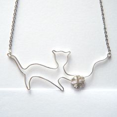 Cat Silver Necklace - Silver Cat Pendant, Silver Kitten Necklace, Handcrafted Wire Work Pendant - 'Playful Kitten'. €38.00, via Etsy.