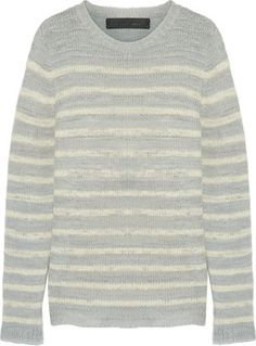 Shop Now - >  https://api.shopstyle.com/action/apiVisitRetailer?id=626857838&pid=uid6996-25233114-59 The Elder Statesman - Picasso Striped Cashmere Sweater - Light gray  ...