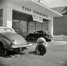 "September 1940. Washington, D.C. ""Service station on Connecticut Avenue."" Medium format nitrate negative by Edwin Rosskam."