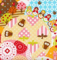 Owl and Russian Doll Kawaii fabric