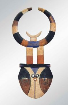Africa | Bedu plank mask from the Nafana people of Ghana/Ivory Coast | Wood and paint |