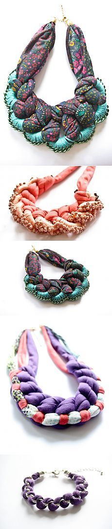 коллекция колье из ткани, бусин и цепей / Украшения и бижутерия / Модный сайт о стильной переделке одежды и интерьера