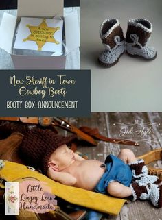 New Sheriff - Cowboy Boots Pregnancy Announcement Box Funny Baby Announcement Gender Reveal Unisex Baby Shower Gift Booty Box by littleloopylou Baby Uggs, Baby Boots, Unisex Baby Shower, Baby Shower Gifts, Do It Yourself Baby, Cute Baby Shoes, Baby Boy Or Girl, Newborn Photography Props, Crochet Baby Booties