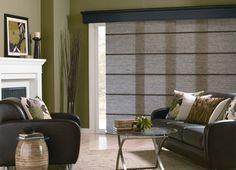 Vertical blinds are a practical and economical choice for large openings and patio doors. Patio Door Coverings, Window Coverings, Window Treatments, Asian House, Valance, Curtains, Window Styles, Blinds For Windows, Patio Doors