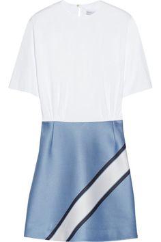 Victoria, Victoria Beckham|Cotton-blend poplin and satin-jacquard dress|NET-A-PORTER.COM