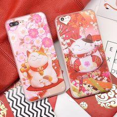 Cute Sakura Fortune Cat Phone Case For iPhone 6 6s Plus 7 7 Plus Soft TPU Cover Lovely Maneki Neko Back Cover For iPhone 6s Case