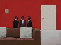 """"""" Sam Nhlengethwa: Conversations Johannesberg) Conversations is an exhibition of new work by Sam Nhlengethwa that portrays the scenes from the city of Johannesburg and its. South African Art, Africa Art, Printmaking, Conversation, Abstract, Gallery, Painting, Bee, Board"""