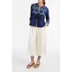 Sea Lace Embroidery Cardigan Top ($341) ❤ liked on Polyvore featuring tops, cardigans, blue lace cardigan, bohemian style tops, lacy tops, blue cardigan and embroidered top