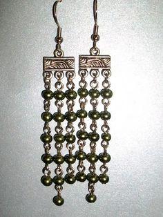 Dark green chandelier earrings