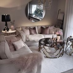Cozy Living Room For Your Home - Living Room Design Glam Living Room, Living Room Decor Cozy, Living Room Goals, Living Room Lighting, Bedroom Decor, Feminine Living Rooms, Modern Living, Decor Room, Wall Decor