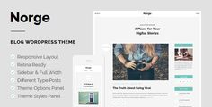 Norge is a responsive blog WordPress Theme that combines a minimalist design and effortless blogging. It has a responsive layout and it looks crisp and clear on the Retina display. The Theme comes with sidebar and full width layouts, numerous widgets, shortcodes and different type posts. Tags: blog, blogger, clean, creative, design, elegant, minimalist, personal, retina, showcase, simple.