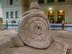Time - Sand Sculpture Ice Sculptures, Sculpture Art, Ice Art, Snow Art, Fine Sand, Sandbox, Beach Art, Beautiful Beaches, Three Dimensional