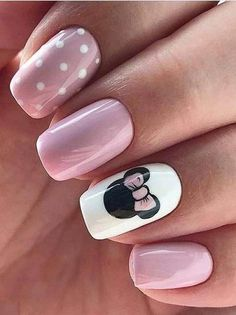 28 CUTE SPRING NAIL ART DESIGNS 2019 # 2019 - Nagellack art - You are in the right place about spring nails orange Here we offer you the most beautiful pictures a Mickey Nails, Minnie Mouse Nails, Mickey Mouse Nail Art, Pink Minnie, Light Pink Nails, Pink Nail Art, Pink Art, Pink Light, Dark Nails