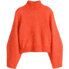 H&M Jumper in a wool blend ($17) ❤ liked on Polyvore featuring tops, sweaters, jumpers, shirts, orange, orange turtleneck sweater, turtleneck shirt, shirt sweater, red top and turtle neck sweater