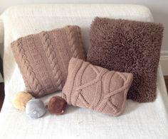 Housse de coussin tricote,point irlandais