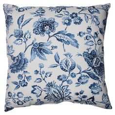 Cotton pillow with a cobalt-hued floral motif and eco-friendly fill.  Product: PillowConstruction Material: Cott...