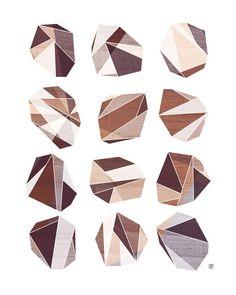 Soft Rock Geometric Facet  Art Print von thepairabirds auf Etsy, $15.00