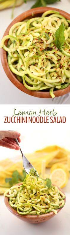 A light and refreshing salad recipe for Spring or Summer this Lemon Herb Zucchini Noodle Salad will become a seasonal classic Full of fibre and veggies and ready in 10 mi. Zoodle Recipes, Spiralizer Recipes, Healthy Salad Recipes, Raw Food Recipes, Vegetable Recipes, Vegetarian Recipes, Cooking Recipes, Zucchini Noodles Salad, Veggie Noodles
