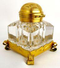 Antique Partner's Inkwell Cut Glass Gilt Mounts Betjemann's Patent Lid. On sale at RL for $440.00.