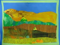 grant wood-inspired, collage with painted papers - (kids made their own painted paper with texture)