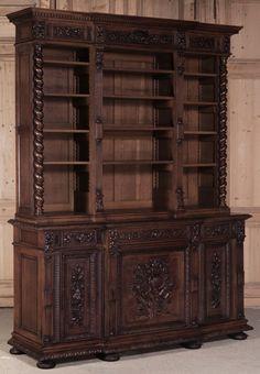 Antique Renaissance Bookcase   Antique Bookcases   Inessa Stewart's Antiques   #antique #furniture