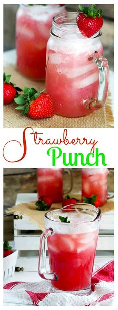 Strawberry Punch ~ this refreshing, simple, beverage  features fresh strawberries and pineapple juice, making it the perfect, all-natural drink to quench your summertime thirst! | FiveHeartHome.com
