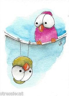 ACEO Original watercolor art painting whimsical green pink birds upside down