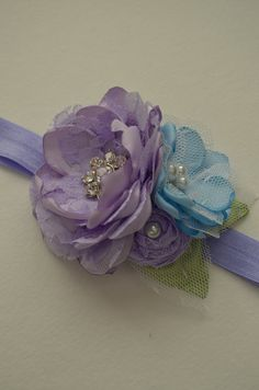 Soft Purple and Blue Flower Headband by TheVintageCabbgeRose, $12.00