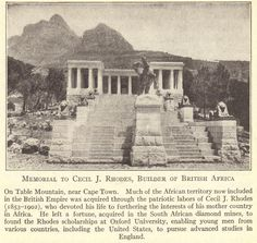 Cecil Rhodes Memorial at Table Mountain in Africa West Africa, South Africa, John Rhodes, 12 Tribes Of Israel, Xhosa, Table Mountain, St Helena, African Countries, Native Indian