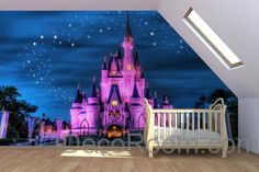 3D Purple Pink Disney Princess Dream Castle Wallpaper Wall paper Wall Decals Wall Art Print Mural Home Kids Girl Nursery Childcare Decor IDCWP00012