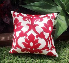 Outdoor Cushions Ikat Outdoor Pillows Red by IslandHomeEmporium