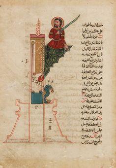 Folio from the Book of Knowledge of Ingenious Mechanical Devices: a candle clock  Abu'l Izz Isma'il al-Jazari, Author; Farukh ibn 'Abd al-Latif, Copyist: Syria, 1315