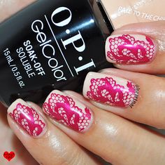 OPI GelColor Pale to the Chief & Red Lace Stamping