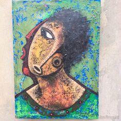 Pintura de João Timane artista de Moçambique. Título: casal interracial