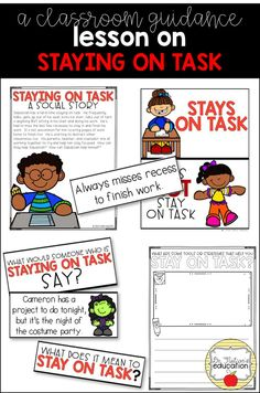 A classroom guidance lesson on the importance in staying on task. Elementary School Counselor, School Counseling, Elementary Schools, Kindergarten Social Studies, Social Skills Activities, Guidance Lessons, Character Education, School Resources, Teaching Materials