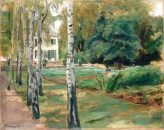 The birch trees in the garden at Wannsee by Max Liebermann