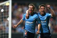 Del Piero scores and celebrates with Kruno Lovrek as Sydney FC win over the Western Sydney Wanderers, Sydney Fc, Premier League, Champion, Soccer, Football, Celebrities, League News, Number 10, Sports