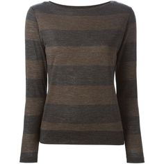 Eleventy Striped Long Sleeve T-Shirt ($180) ❤ liked on Polyvore featuring tops, t-shirts, grey, gray t shirt, long sleeve tee, stripe long sleeve tee, grey t shirt and striped t shirt